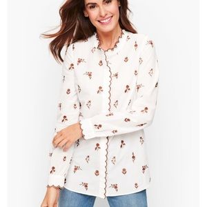 Talbots scalloped trim embroidered button down L